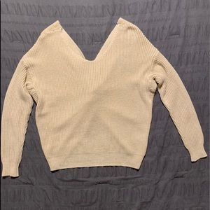 Sweaters - Open back cream sweater
